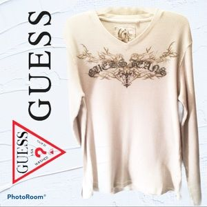Guess Jeans Thermal V-neck Graphic Muscle Shirt, M